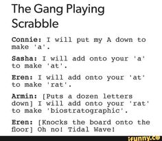 Levi squad playing scrabble