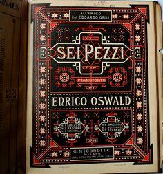 Capa partitura Musical Sei Pezzi / Per Pianoforte -Erico Oswald Op.14 / Milano  All' Amico Edoardo Gelli: