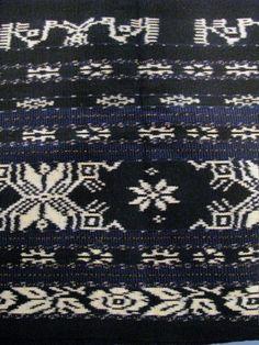 Vintage Ikat Long Black Indigo Stripes Cotton by jasmineium, $495.00