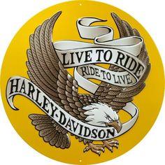 Harley Davidson – Eagle – Live to Ride : Plaque décorative rétro en métal représentant l'aigle Harley Davidson. Idéal pour créer une décoration vintage dans un garage, un atelier, un bar, un pub ou même dans une concession moto.