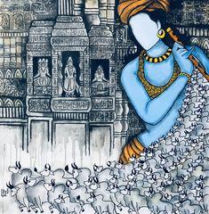 Pichwai Paintings, Indian Art Paintings, Simple Paintings, Acrylic Paintings, Madhubani Art, Madhubani Painting, Painting Tips, Abstract Paintings, Painting Art