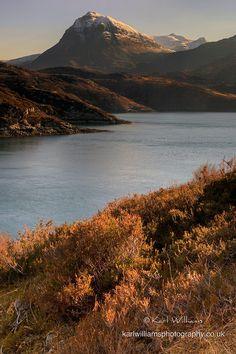 Loch a' Chairn Bhain & Quinag in Assynt from near Kylesku Bridge, Scotland