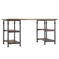 Simplicity and functionality come together in this industrial-inspired desk, equally ideal for crafting your latest DIY project or working from home. Built from sturdy pinewood and black-sanded metal for a rustic vintage look, this desk's simple elegance and strong design is easily matched with existing home furnishings. This sleek and multi-functional desk features generous surface spaces for computers, media devices, lamps, or whatever you choose. A quartet of shelves enhances clutter r...