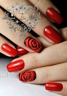 Nail art Christmas - the festive spirit on the nails. Over 70 creative ideas and tutorials - My Nails Rose Nail Design, Rose Nail Art, Red Nail Designs, Rose Nails, Flower Nails, 3d Nails, Nail Crystal Designs, Pointy Nails, 3d Nail Art
