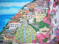 Positano is placed along a beautiful stretch of Salerno coast, it is today one of the most interesting places of Amalfi coast . In its enchanting centre there is the parish church of S.Maria Assunta with a splendid majolica dome among small white, colored houses and blooming gardens .     Painting by: Teresa Dominici