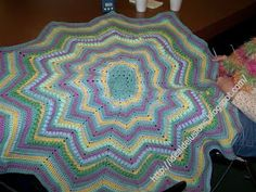 This is a stash buster.   This is the most basic type of instructions for creating the 12 point Round Ripple Afghan.  All the Roun...