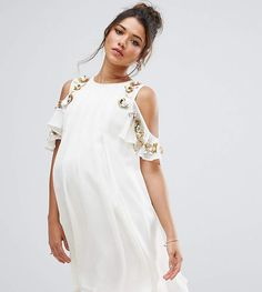 ASOS Maternity Embellished Cold Shoulder Mini Dress.#ad