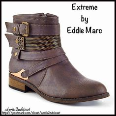 "Eddie Marc BOOTS Buckle Zipper Booties 💟NEW WITH TAGS💟  RETAIL PRICE: $80   Extreme by Eddie Marc BOOTS Buckle Zipper Booties DETAILS:   * Almond toe   * Side & front buckle strap details   * Gold-tone metallic hardware   * Side zip closure   * Stacked 1"" high heels, approx 6""shaft & 12"" opening   * True to size   Material: Manmade upper & sole  Color: Brown & gold Item#:   🚫No Trades🚫 ✅ Offers Considered*✅  *Please use the blue 'offer' button to submit an offer. Extreme by Eddie Marc…"