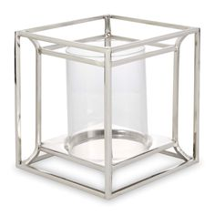 Silver Effect Cube Hurricane Lamp Candle Set, Glass Candle, Ashley Store, Laura Ashley Kitchen, New Photo Frame, Striped Curtains, Hurricane Lamps, White Acrylic Paint, Bottle Top