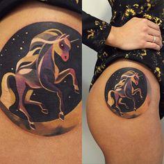 """""""#tattoo #horse #unicorn #moon #night #sky ✨"""""""