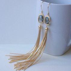 OSCAR Long Gold Grey Fringe Drop Earrings by PeriniDesigns on Etsy, $42.00