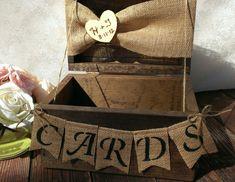 rustic wedding card box burlap wedding reception card box. $69.00, via Etsy.