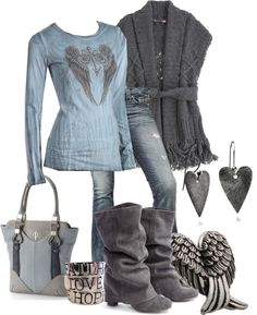"""The Greatest of these is LOVE"" by jewhite76 on Polyvore // I'll take the sweater, jeans, boots, and bag..leave the rest"