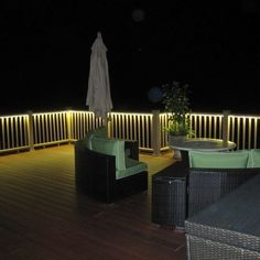 cool flat ropes of LED rope light under the deck railings & Deck rail lighting- this would be really cool for the summertime and ...
