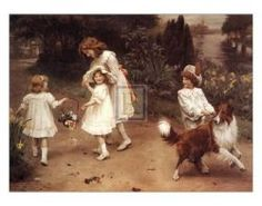 """I love Sir Arthur Elsley...I have a lot of his prints. There is just something about the Victorian children and, of course, they must have an animal! This is """"The Love At First Sight"""" and is one of my favorites"""