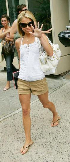 9613a3dec15ec See more. kelly ripa s summer style- khaki shorts and flip flops Kelly Ripa  Feet