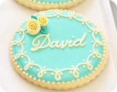 """gorgeous wedding placecard cookies from @sweetopia ! (or I could write """"eat me"""" on them for Ellie's Alice in Wonderland party)"""