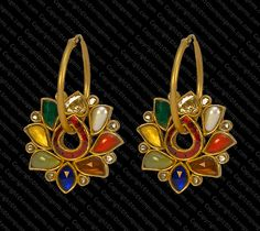Bali with fine Navratan stones in Lotus Shape set in 22k. Gold
