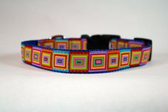 rainbow squares dog collar, multi colored dog collar, Bright nylon collar, pet gift, dog accessory, Bozies Bags by Boziesbags on Etsy