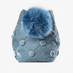 Laimushka Velvet Bucket Bag with Pom Pom emerging brand Fashion Bags, Fashion Backpack, Womens Fashion, Stockholm, Ethical Fashion, Bucket Bag, Coin Purse, Velvet, Passion