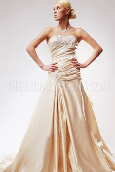 Champagne Sweetheart A-line Satin Wedding Gown - Wedding Dresses - Wedding Cheap Prom Dresses, Dresses For Sale, Bridal Dresses, Wedding Gowns, Bridesmaid Dresses, Sweetheart Wedding Dress, One Shoulder Wedding Dress, Strapless Dress Formal, Formal Dresses