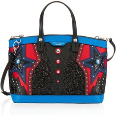 Henri Bendel West 57th Applique Satchel (£440) ❤ liked on Polyvore featuring bags, handbags, blue multi, blue satchel, studded handbags, satchel purses, zipper pouch and zip pouch