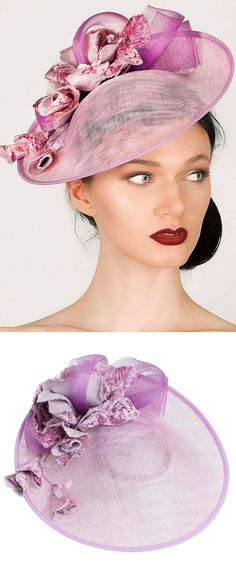 'Rose Cascade' medium disc fascinator hat is ideal for race days, weddings and garden parties. Made with a heather coloured base, finished with decorated crinoline swirls and pink velvet roses. Racing fashion hats and headpieces for the races, Mother of the Bride, Kentucky Derby, Royal Ascot, summer Weddings outfits. #racingfashion #fashionsonthefield#royalascot #kentuckyderby #hats #millinery #saucerhats #fashion #fashionista #affiliatelink #ootd #floralhats #fascinators
