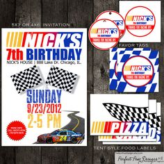 Racing nascar birthday custom digital invitation by jessieludesigns nascar birthday party pack jeff gordon theme includes custom invitation favor tags filmwisefo Choice Image