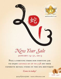 January 14-31, 2013: New Years Sale at Skin Sense, a day spa with savings up to 75%!