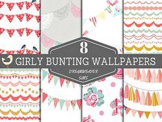 DreamWeaver Sims' Girly Bunting Wallpapers