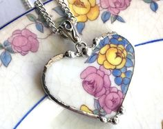 Broken China Jewelry - heart shaped pendant necklace - forget me not - antique pink and yellow roses - recycled china