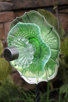 Solar Lit Vintage Green Glass Garden Flower by BrilliantUpcycles, $60.00