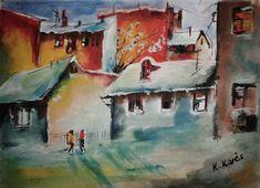 Utcakép. Akvarell. Painting, Art, Art Background, Painting Art, Kunst, Paintings, Gcse Art
