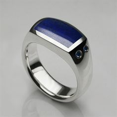 Mens Rings - Solid Silver, Lapis & Diamond Oxford Signet Ring - Mens Designer Jewellery by Stephen Einhorn London
