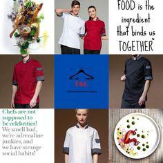 F&L Catering Suppliers where the chef is always right. The number one place for unique chef attire with attitude. High quality and delivered straight to your door. Long sleeve, short sleeve chef jacket. Mens, Womens, & Unisex Chef jackets, Chef trousers, chef hats & aprons.New fashion chef jackets for best chefs in 2020. Chef Hats, Bind Us Together, Catering Equipment, Best Chef, Aprons, Chefs, Chef Jackets, Attitude, Trousers