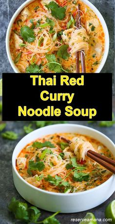 155 Thai Red Curry Noodle Soup - These Thai Red Curry Noodle Soup are totally slurp-worthy! This soup is packed with so much flavor -★★★★★ 155 Thai Red Curry Noodle Soup - These Thai Red Curry Noodle Soup are totally slurp-worthy! This soup i. Rice Recipes For Dinner, Healthy Soup Recipes, Vegetarian Recipes, Cooking Recipes, Thai Soup Vegetarian, Rice Noodle Recipes, Rice Noodle Soups, Asian Noodle Recipes, Recipes With Thai Noodles