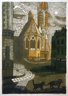 Untitled (street scene with cats) by Richard Bawden