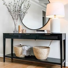 Woven Drawer Console Table Black - Threshold™ designed with Studio McGee