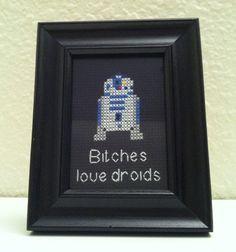Bitches love droids - Star Wars R2D2 Cross Stitch Pattern by KyotiJess on Etsy, $5.50