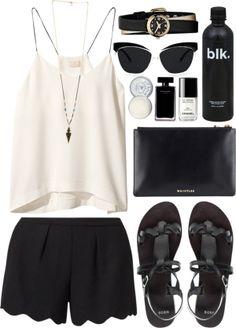 White cami x black scalloped shorts