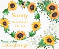 Sunflower watercolor wreath clipart: FLORAL CLIPART by LeCoqDesign