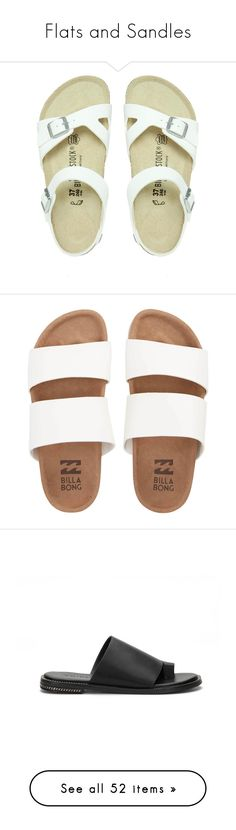"""""""Flats and Sandles"""" by painterella ❤ liked on Polyvore featuring shoes, sandals, flats, vegan shoes, flats sandals, white sandals, birkenstock sandals, vegan sandals, clothes - shoes and footwear"""