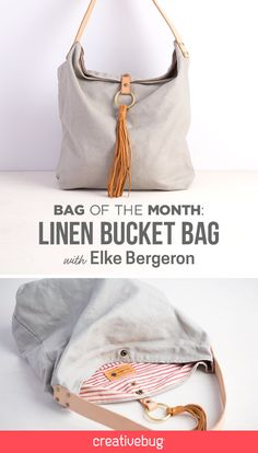 Attention Sewists: get ready to fill your closet with totes, purses, and bucket bags galore. On the first day of every month in 2016, we will be serving up a new bag class taught by the most amazing bag designers like Nicole Mallalieu, Elke Bergeron, Jen Hewett, and Fancy Tiger. First up is a linen bucket bag (also known as your new favorite all-purpose year-round tote).