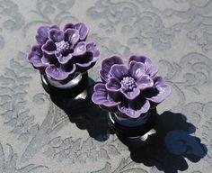 """Purple Vintage Style Flower Plugs - 0g, 00g, 7/16"""", 1/2"""", 9/16"""""""