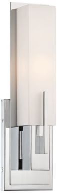 """Midtown White Glass Chrome Possini Euro Wall Sconce.  14""""H, 4.5""""W, 3.5"""" from the wall.  $100"""
