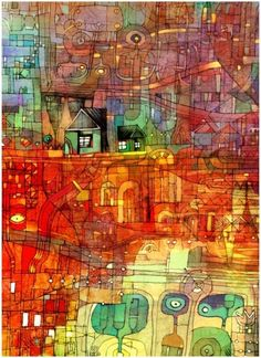 wish I had a credit for this - reminds me of Hundertwasser Art Gallery, Art Painting, Painting, Illustration Art, Art, Abstract, Contemporary Art, Outsider Art, Beautiful Art