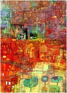 wish I had a credit for this - reminds me of Hundertwasser Art Beauté, Friedensreich Hundertwasser, Wooden Jigsaw Puzzles, Art Moderne, Art Graphique, Outsider Art, Grafik Design, Medium Art, Graphic