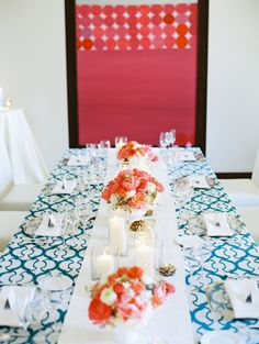 #tablescapes, #tablecloth  Photography: Kina Wicks Photography - www.kinawicks.com  Read More: http://www.stylemepretty.com/2014/09/16/modern-print-tablescape-inspiration/