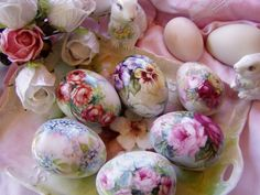 HAND PAINTED EASTER EGGS IN MY STUDIO