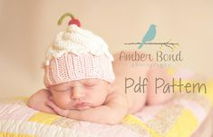 Etsy find of the day - newborn knitted cupcake beanie PDF pattern - Babyology @Mary-Jane Loves
